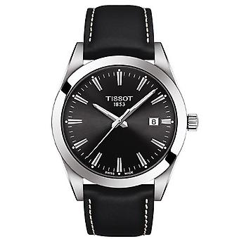 Tissot Watches T127.410.16.051.00 Gentleman Silver Stainless Steel And Black Leather Men's Watch