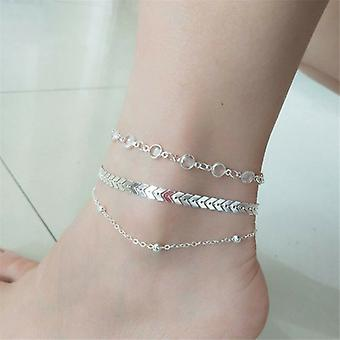 Silver Crystals and Chevron Anklet Set