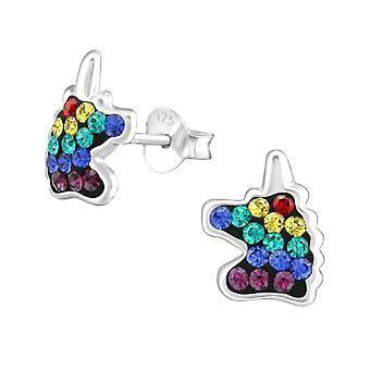 Brincos de garanhão de unicórnio de arco-íris de prata esterlina com cristais Swarovski