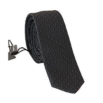 Black silk blue pattern slim tie