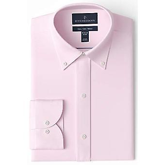 BUTTONED ALAS Miehet&s Slim Fit button collar solid non-iron dress shirt, light ...