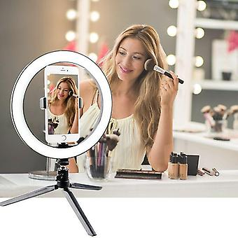 Led Ring Light 10inch Dimmable Selfie Lamp With Tripod Photography Camera Phone Light For Makeup Video Live (black)