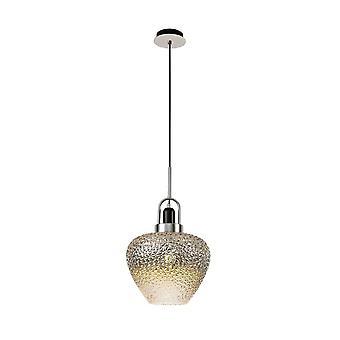 Luminosa Lighting - Loft Dome Pendant, 1 x E27, Sort røg og klar, poleret krom