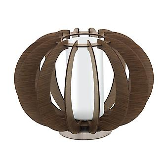 1 Lampe de table en bois clair Satin Nickel , Brun foncé, E27