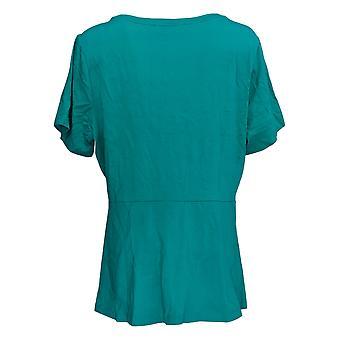 Isaac Mizrahi Live! Women's Plus Top Short-Sleeve Peplum Knit Blue A354253