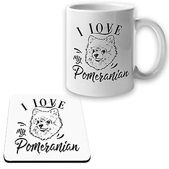 Pommersche Becher + Untersetzer Paket ich liebe Hund Set