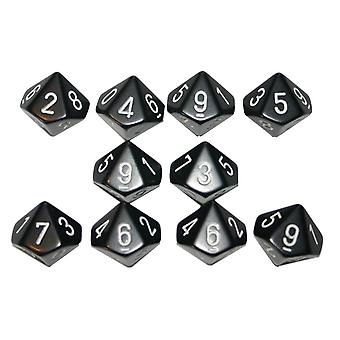 Chessex Opaque 10 x D10 Set - Black/white