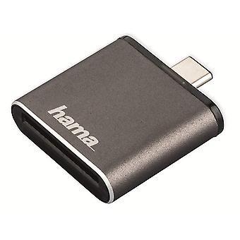 Hama USB 3.1 Typ C UHS II OTG Kartenleser, SD, grau