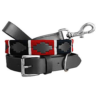 Carlos diaz genuine leather matching pair waxed embroidered polo dog collar and lead set cduplc42