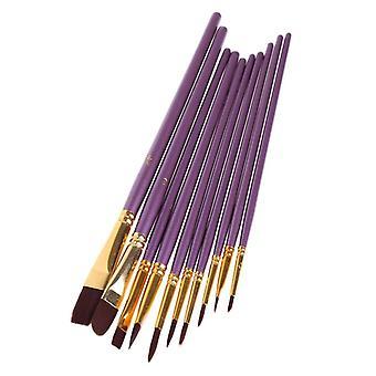 Watercolor Gouache Painting Pen, Nylon Hair Wooden Handle Paint Brush Set