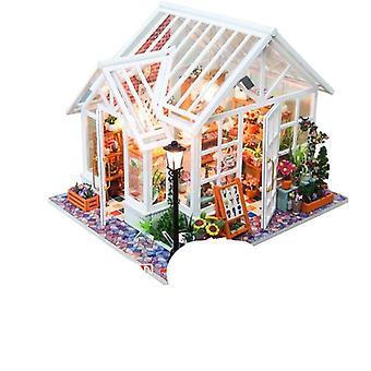 Miniature mignonne de maison avec des meubles, bâtiment dirigé de modèle de couverture de poussière de musique