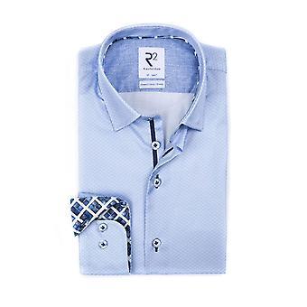 R2 Hidden Button Down Flower Printed Shirt Pale Blue