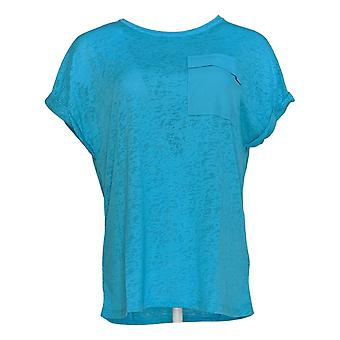 DG2 por Diane Gilman Women's Top Blue Tunic Pocket Short Sleeve 723-680