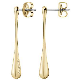Calvin Klein Ellipse Gold Stainless Steel Drop Earrings KJDMJE100100