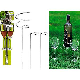 Summit Wine Bottle And Two Wine Glass Holders - Stainless Steel