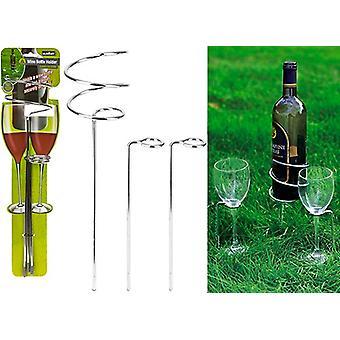 Summit Weinflasche und zwei Weinglashalter - Edelstahl