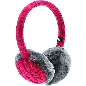 KitSound Audio On-Ear Earmuffs with Built In Headphones Faux Fur Chunky Knit