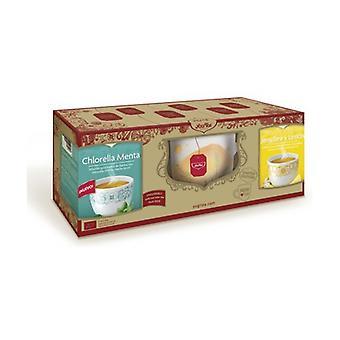 Decorated mug + packs of lemon ginger and mint chlorella infusions 3 units