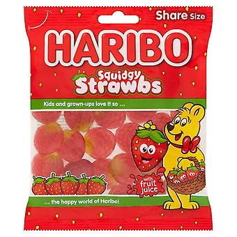 HARIBO Squidgy Strawberries 0.49kg, bulk sweets, 3 packs of 160g