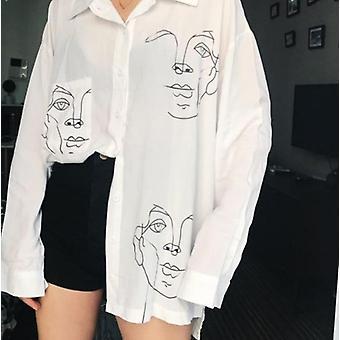 Sommer Bluse Baumwolle, Gesichtsdruck, voller Ärmel, lange Hemden Tops