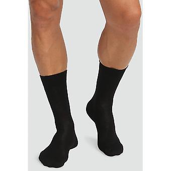 Lot Of 2 Pairs of Socks Mid-High Cotton Organic Dim Underwear - Black