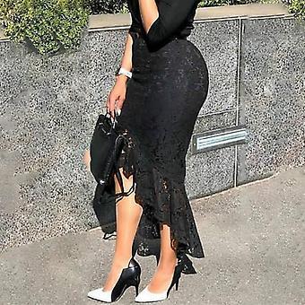 Γυναίκες δαντέλα φούστα υψηλής μέσης slim midi αριστοκρατικό ακανόνιστο μήκος μόδας
