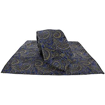 Michelsons av London Over Paisley Tie og Pocket Square Set - Blå/Gul