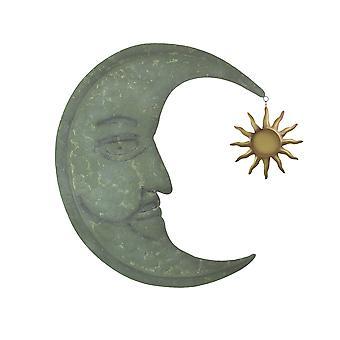 Verwitterte Verdigris grün Finish Metall Halbmond Wandbehang mit Sonne oder Stern Dangler