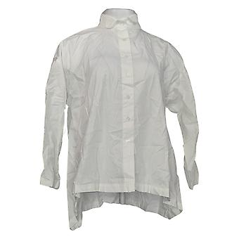 Attitudes By Renee Women's Top Woven Twill Wrinkle Resistant White A367740