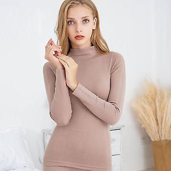 Printed Striped, Winter Thermal Turtleneck, Cotton Long Pajamas