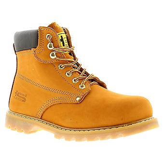 New Mens/Gents Tan Tradesafe Lace Up Steel Toe Cap Safety Boots. UK Size