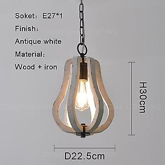 Small Wood Pendant Light, French Vintage White Wooden Suspension Single Lamps