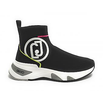 Tênis de sapato feminino Liu-jo Maxi Hoa Suede/ Tecido Preto Ds21lj06