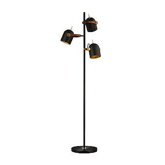 Lampade da terra lampade da terra multi braccio, nero opaco, vernice oro, 3x E14