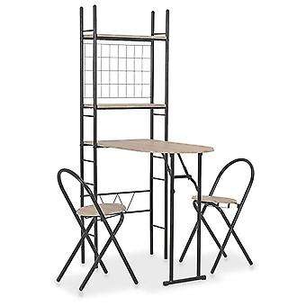 3 Piece Folding Dining Set With Storage Rack Mdf And Steel