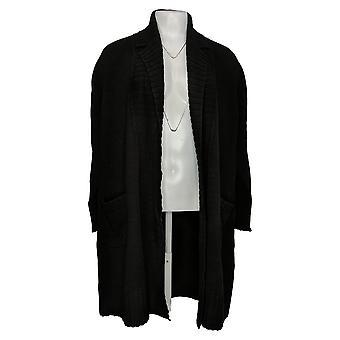 Isaac Mizrahi Live! Women's Sweater Notch Collar Long Cardi Black A389622