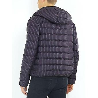Tonal Stripe Print Hooded Puffer Jacket