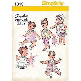 דפוס תפירה פשטות 1813 תינוקות Romper שמלה מכנסיים עליונים גודל XXS-L