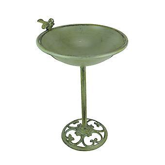 Verdigris الانتهاء من حمام الطيور المعدنية في الهواء الطلق مع Pedestal 20.5 بوصة عالية