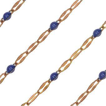 Zola Elements Beaded Chain, Laiton/Cobalt, 4x2mm, Par le Pied