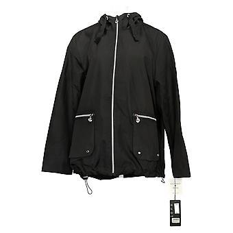 Bernardo Women's Jacket Reg Zip Front with Hood Black  A447208
