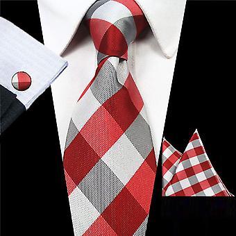 Punainen & harmaa neliö kravatti ranneke linkki & tasku neliö