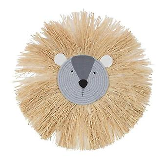 Decorações de leão de desenho animado pendurados linha de algodão artesanal tecendo cabeça de animal