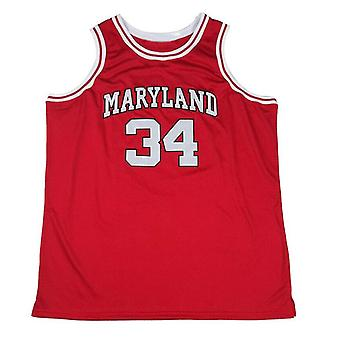 Len Bias #34 Maryland Terrapins Movie Mens Basketball Jersey Stitched Red Yellow