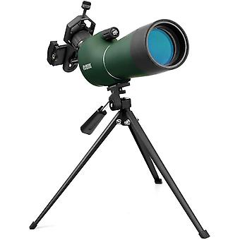 20-60x60 BAK4 prism MC optics monocular telescope angled eyepiece wide field of view spotting scope with tripod mobile phone adapter for bird watching wildlife scenery,(green)
