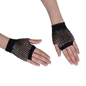 ハーフフィンガー手袋フィッシュネットパーティーコスチュームストレッチ手袋ブラック