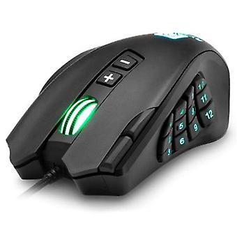 USB-trådad spelmus 16400DPI 16 knappar programmerbara spelmöss med bakgrundsbelysning ergonomisk för