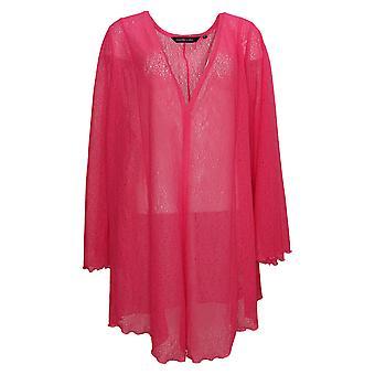 Colleen Lopez Women's Sweater Plus Raschel Lace Cardigan Pink 739770