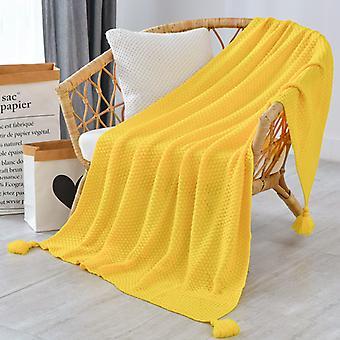 Tassel Knitted Ball Woolen Blanket Sofa Winter Super Warm Cozy Throw Blankets For Office Siesta Air-condition Bedspread Bedding