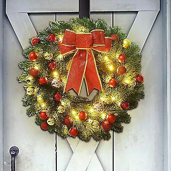 Konstgjord julkrans blandade juldekorationer med varmvita LED-lampor